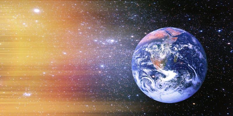 Земля планеты в солнечном свете от космоса стоковое изображение