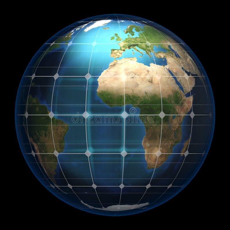 Земля планеты в стеклянной панели солнечных батарей иллюстрация штока
