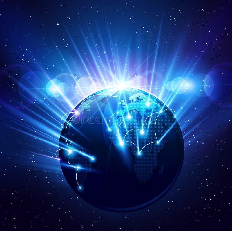 Земля планеты в ярких лучах света бесплатная иллюстрация