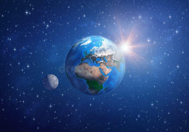 Земля планеты, луна и солнце в глубоком космосе иллюстрация штока