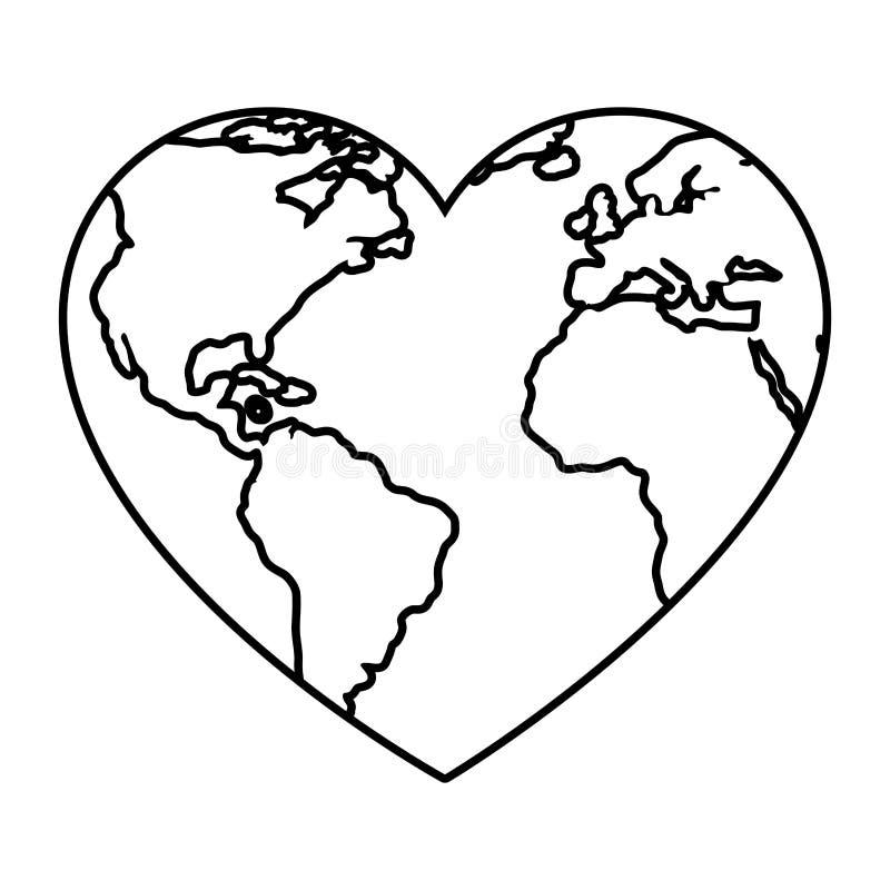 Земля планеты мира с формой сердца бесплатная иллюстрация