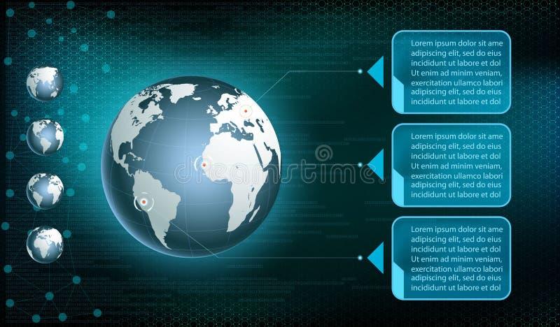Земля планеты на предпосылке цифровой технологии иллюстрация вектора