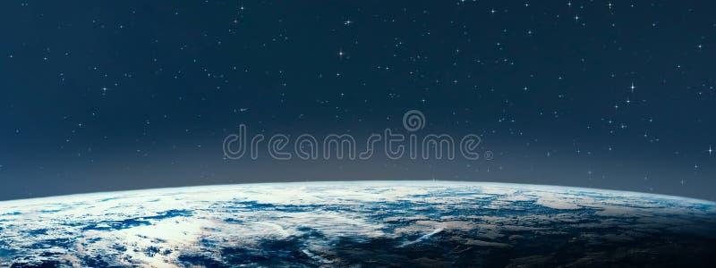 Земля планеты от космоса на ноче стоковая фотография rf