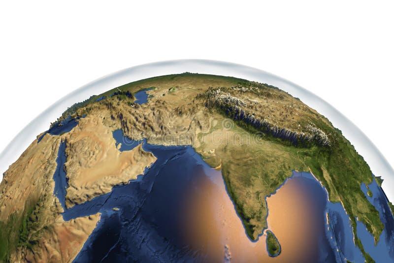 Земля планеты от космоса показывая Индию и Аравийский полуостров иллюстрация вектора
