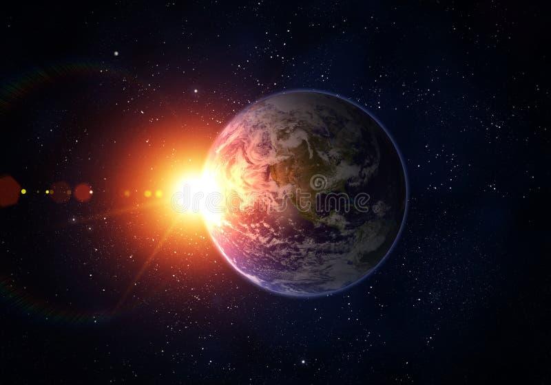 Земля планеты, Солнце, космос стоковое фото rf