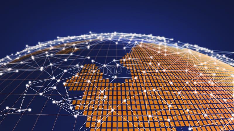 Земля планеты с сетевым подключением выравнивается, концепция интернета глобального бизнеса, иллюстрации 3d иллюстрация вектора
