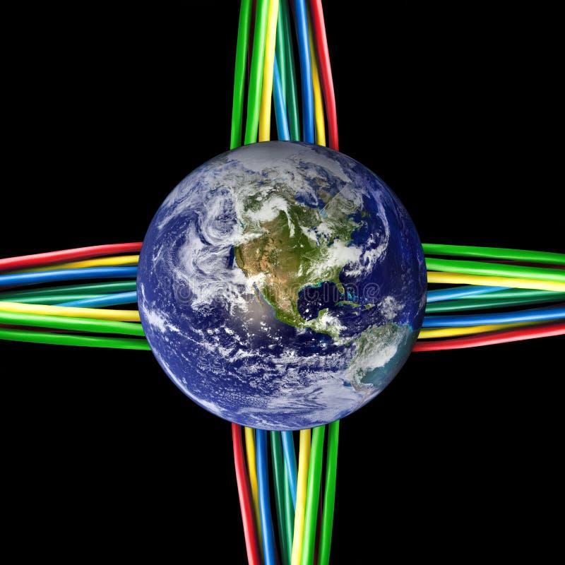 земля покрашенная кабелями соединенная к связанному проволокой миру стоковое фото