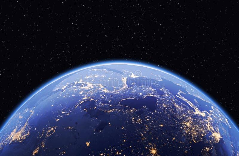 Земля с звездами, глобальная модель планеты изолированная на черном backgrou иллюстрация вектора