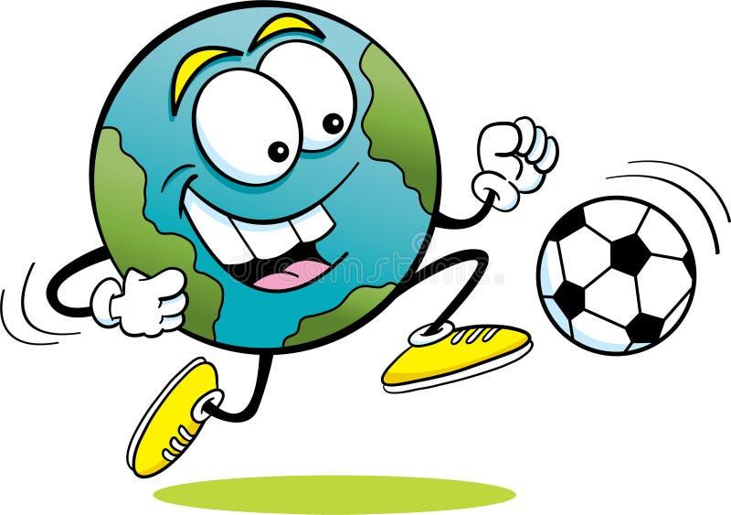 Земля футбола иллюстрация вектора