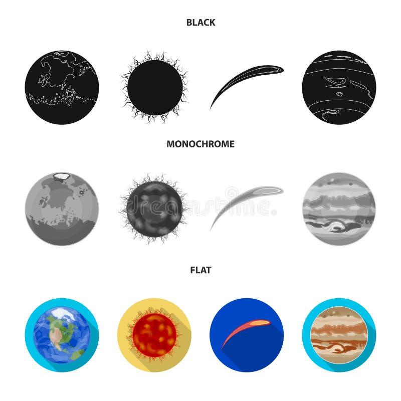 Земля, Юпитер, Солнце планеты солнечной системы Астероид, метеорит Планеты установили значки собрания в черноте иллюстрация вектора