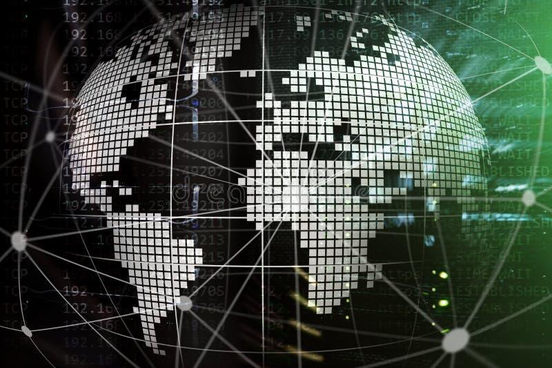 земля 3D как радиосвязь и концепция технологии интернета стоковое фото