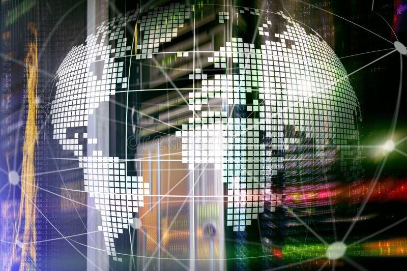земля 3D как радиосвязь и концепция технологии интернета стоковая фотография rf