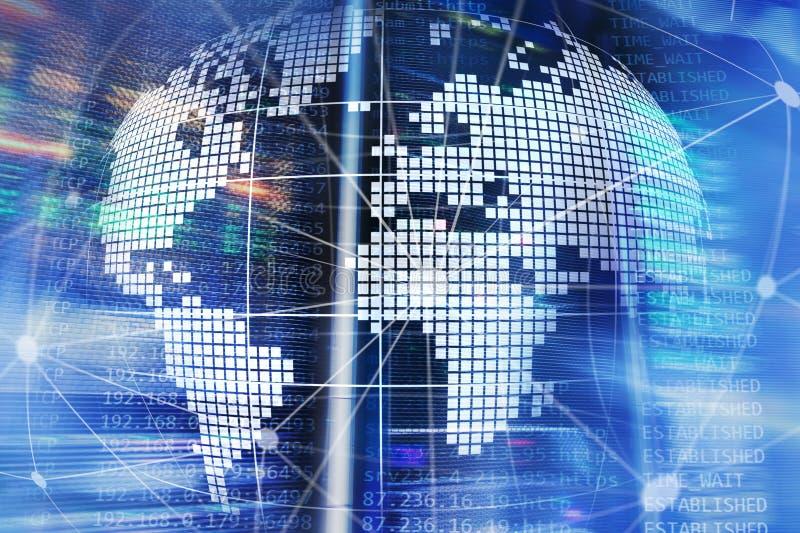 земля 3D как радиосвязь и концепция технологии интернета стоковые изображения rf