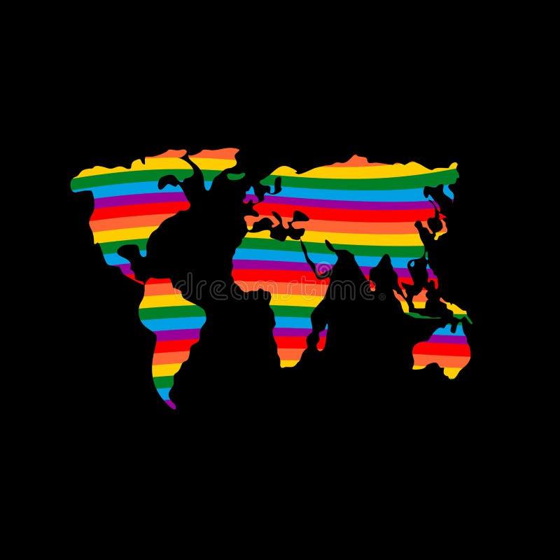 Земля LGBT Цвета радуги флага материка и гомосексуалиста планеты иллюстрация штока