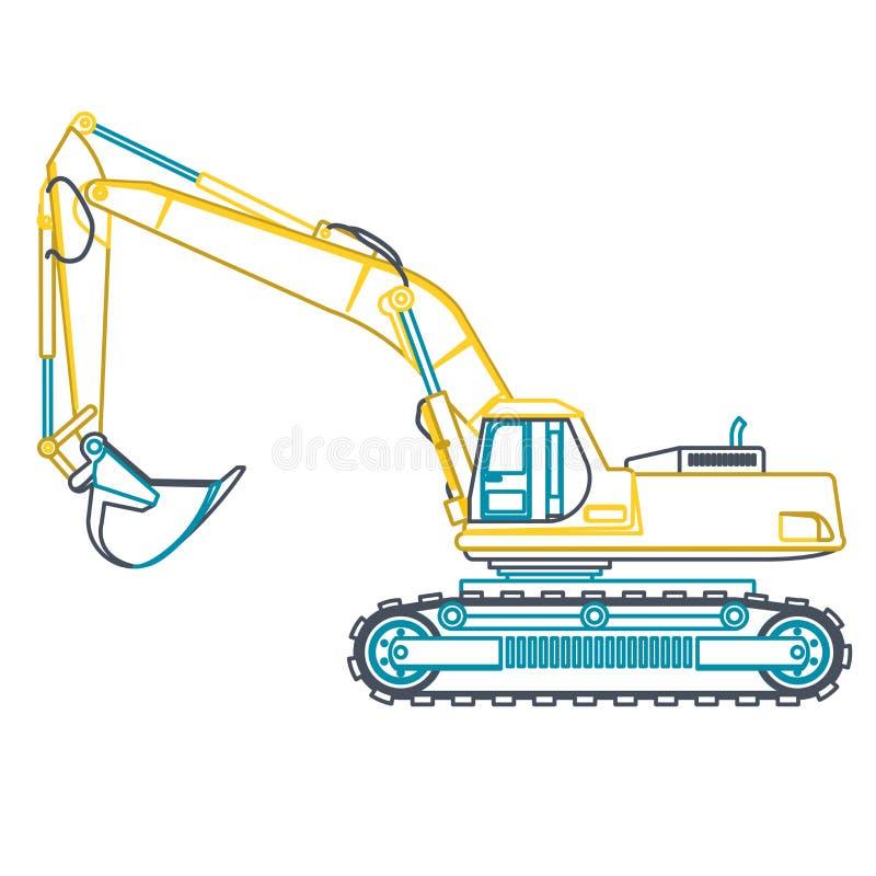 Землекоп голубого желтого плана большой строит дороги на белизне Выкапывать земли тяжелое машинное оборудование бесплатная иллюстрация