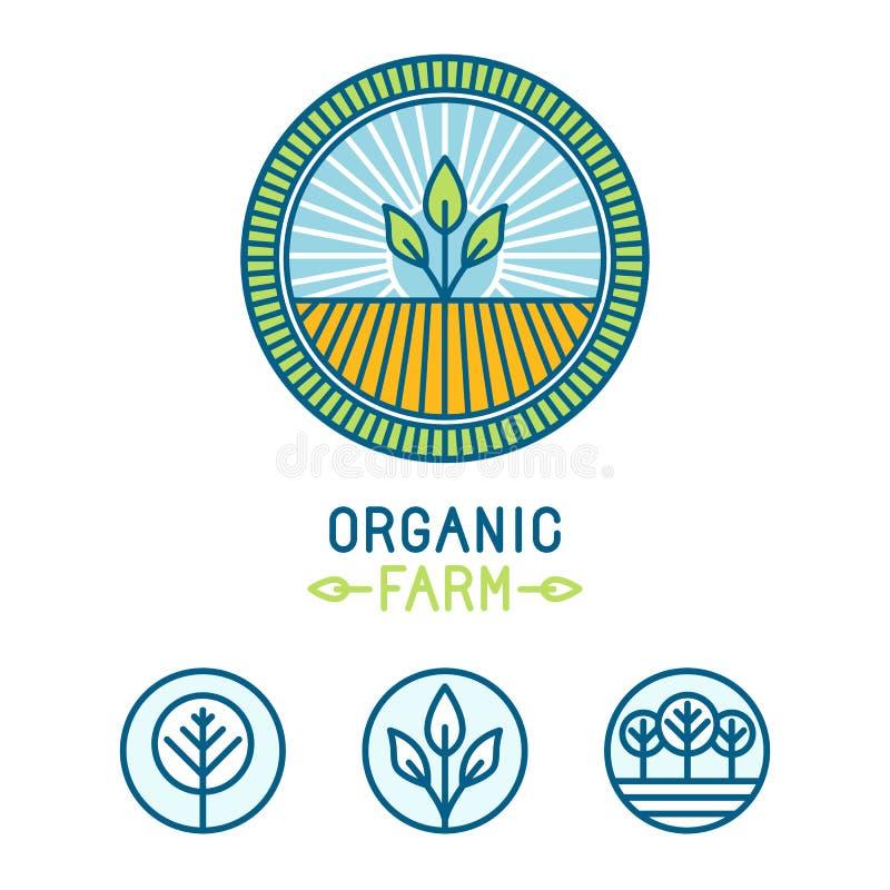 Земледелие вектора и органическая линия логотипы фермы иллюстрация штока