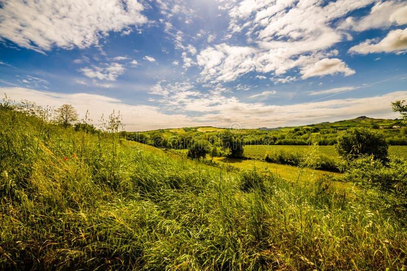 Земледелие на холмах Тосканы и Romagna Apennines стоковые изображения rf