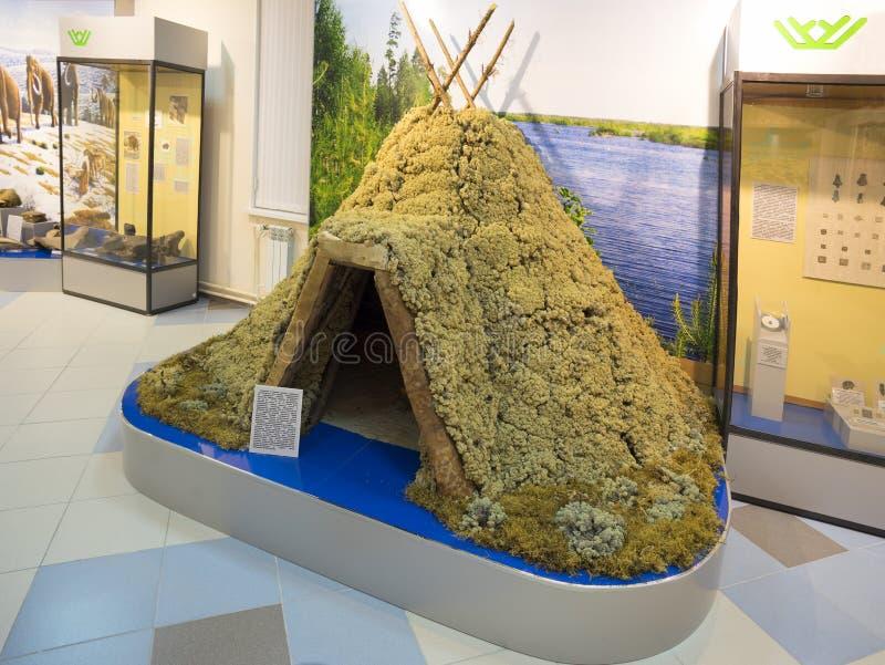 Землистое жилище (хата), в музее города стоковое фото