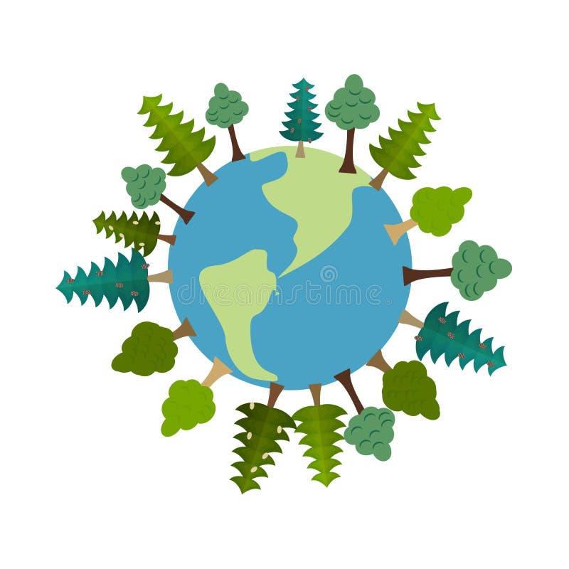 Земля и деревья Зеленая планета Вегетация на земле Карта леса e иллюстрация вектора