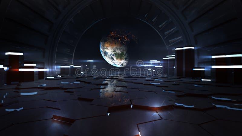 Земля космической станции чужеземца внутренняя наблюдая иллюстрация вектора