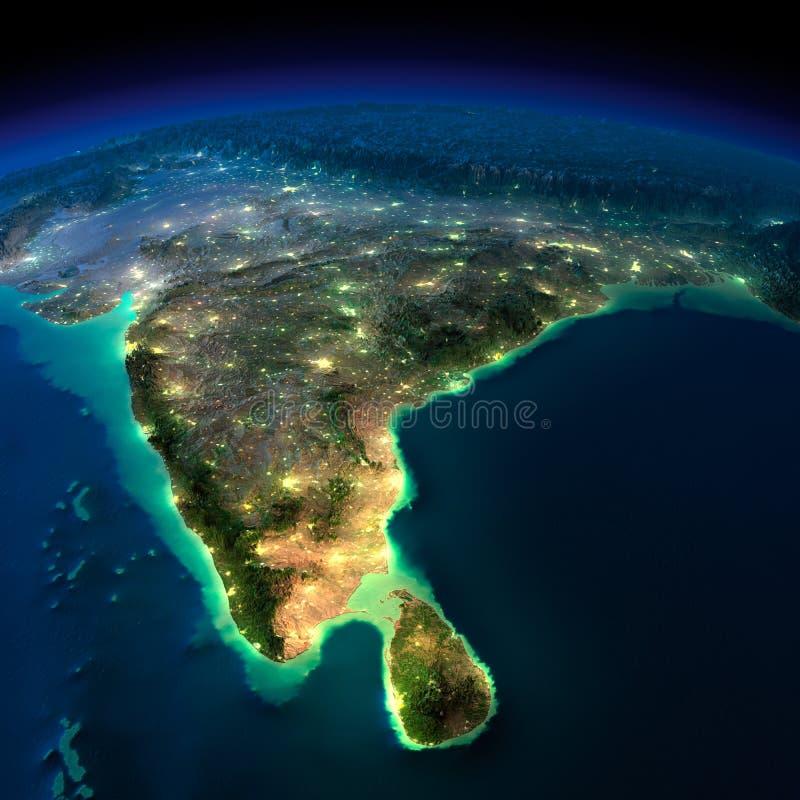 Земля ночи. Индия и Шри-Ланка иллюстрация штока