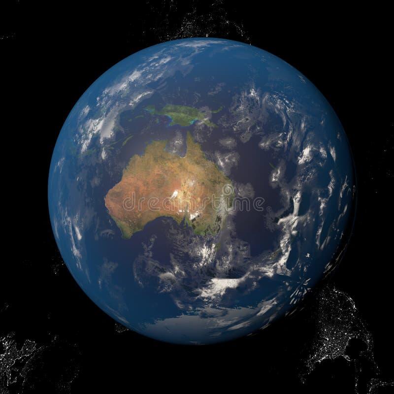 Земля от космоса показывая Австралию и Индонезию Другие ориентации доступные иллюстрация штока