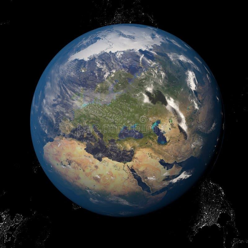 Земля от космоса показывая Европу и Африку Другие ориентации доступные иллюстрация штока