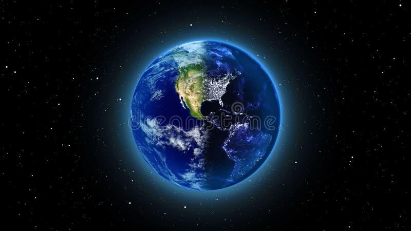 Земля планеты в вселенной или космосе, глобус и галактика в межзвёздном облаке заволакивают бесплатная иллюстрация