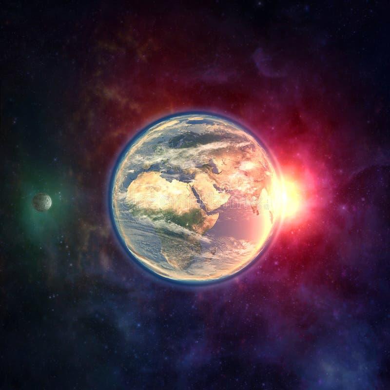 Земля планеты в космическом пространстве с луной, атмосферой и солнечным светом стоковые изображения rf