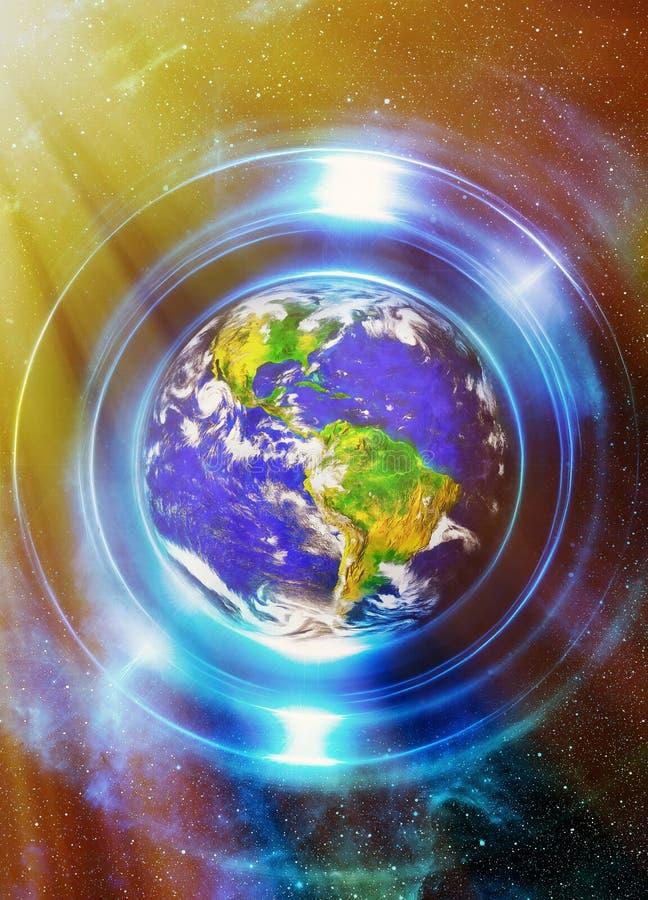 Земля планеты в светлом круге, космической предпосылке космоса коллаж компьютера Концепция земли Земля планеты в световых лучах иллюстрация штока