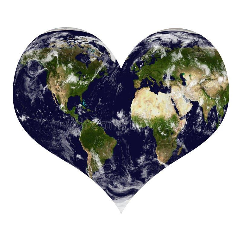Земля планеты в форме сердца с облаками иллюстрация вектора