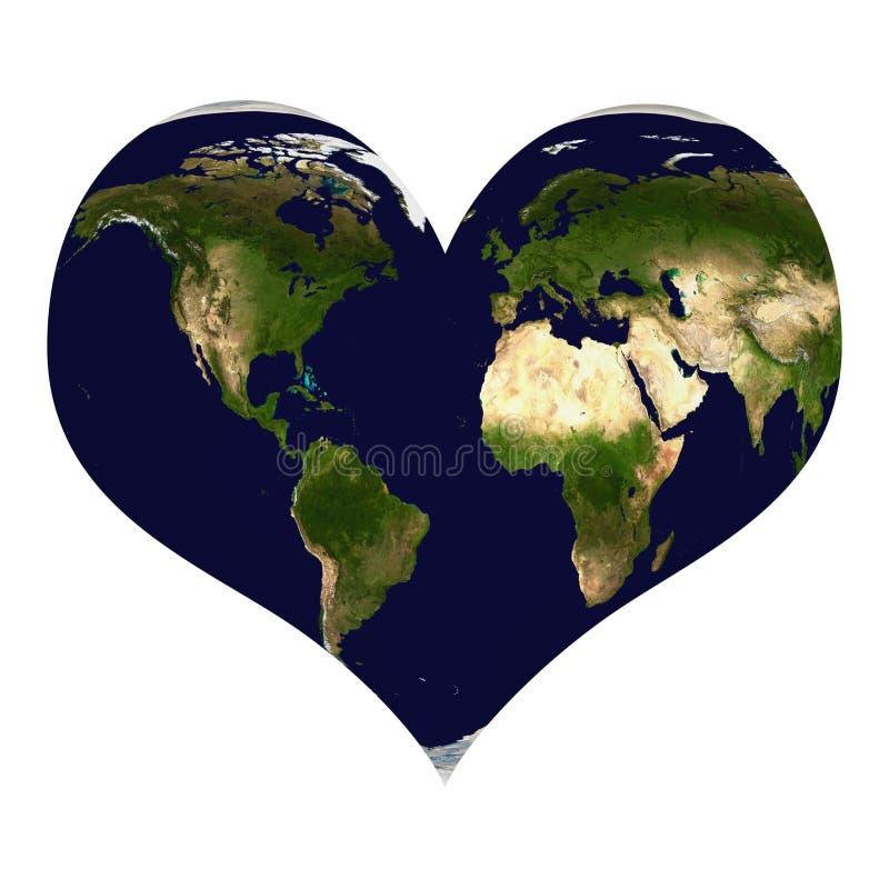 Земля планеты в форме сердца иллюстрация вектора