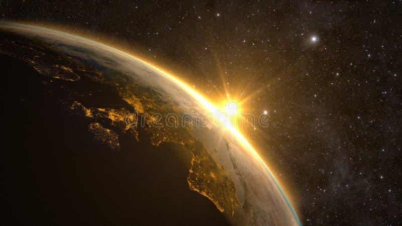 Земля планеты с эффектным восходом солнца иллюстрация вектора