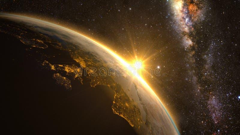 Земля планеты с эффектным восходом солнца иллюстрация штока