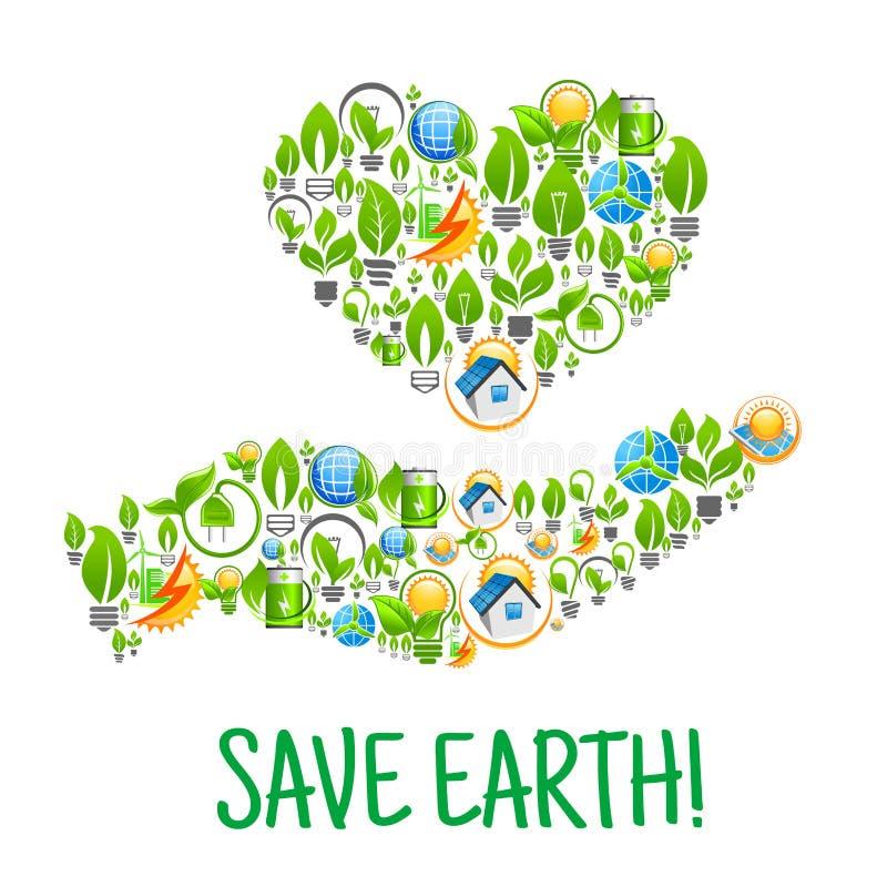 земля сохраняет Иллюстрация окружающей среды Eco творческая иллюстрация вектора