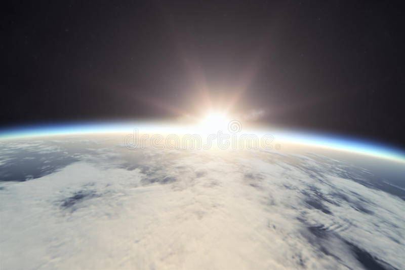 Земля с восходом солнца в космосе иллюстрация штока