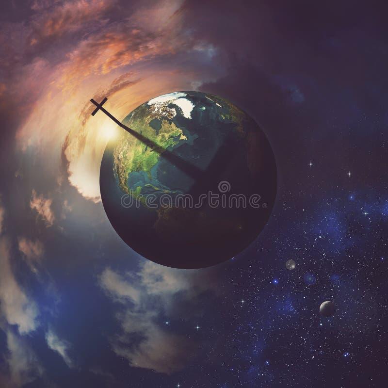 Земля с крестом. бесплатная иллюстрация