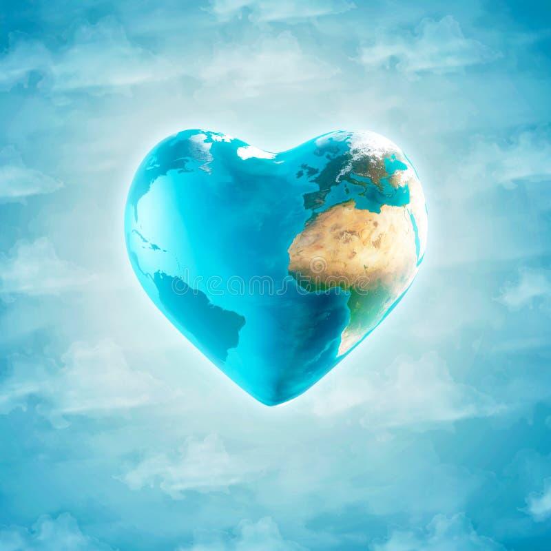 Земля с формой сердца иллюстрация вектора