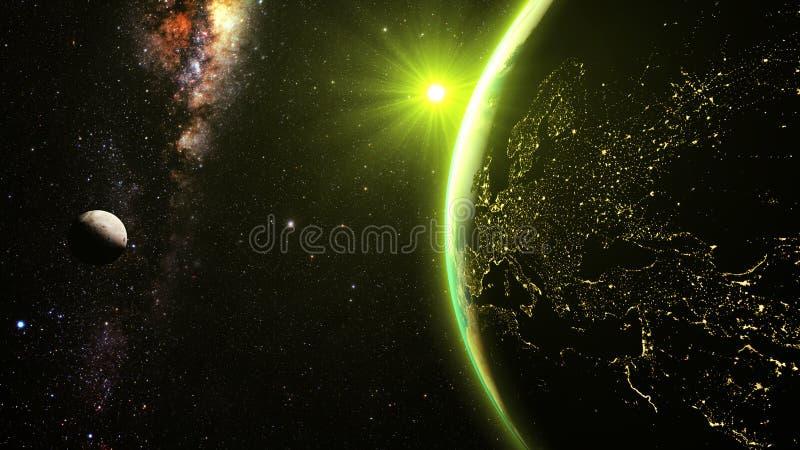 Земля Lanet с эффектным заходом солнца, взглядом на Европе и Африкой иллюстрация вектора