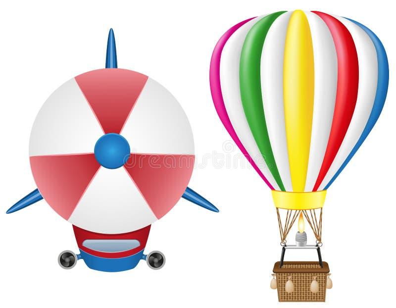 Зеппелин Airship и горячий воздушный шар бесплатная иллюстрация