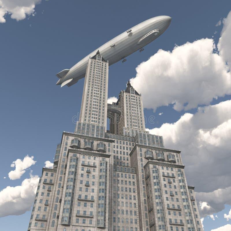 Зеппелин над небоскребом иллюстрация вектора
