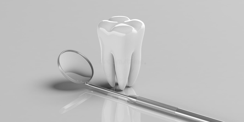 Зеркало дантиста и модель зуба на серой предпосылке, космосе экземпляра иллюстрация 3d иллюстрация вектора