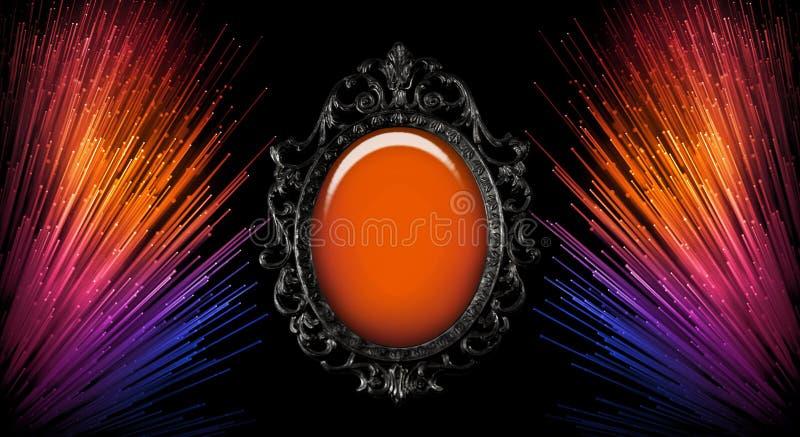 Зеркало художественного конспекта пестротканое винтажное с красочным абстрактным указателем места заполнения для текста иллюстрация вектора