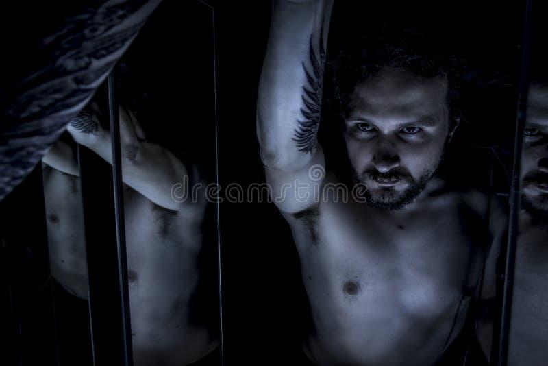 Зеркала, мужская модель, зло, шторка, упаденный ангел смерти стоковая фотография