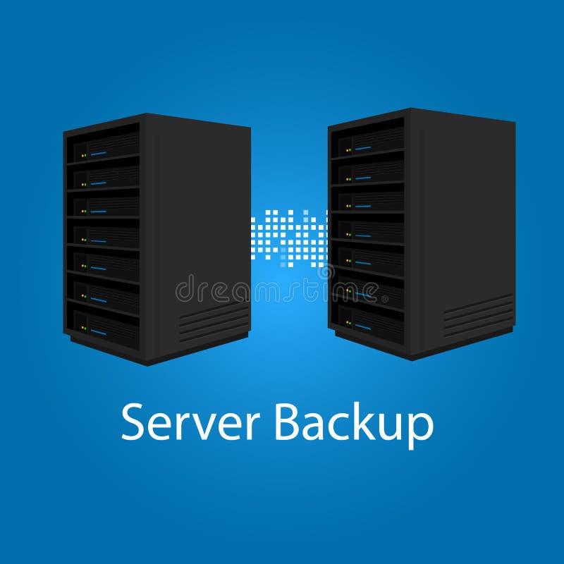 Зеркало дублирования 2 серверов резервное для спасения и представления иллюстрация вектора