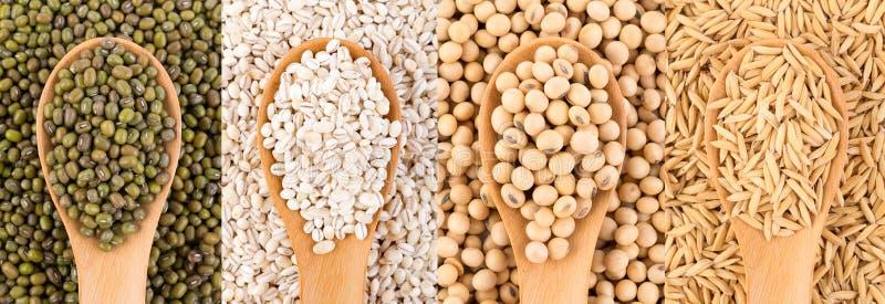 Зерна на предпосылке ложки еда вареников предпосылки много мясо очень стоковая фотография