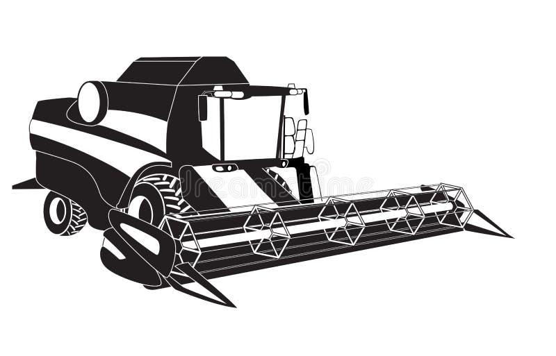 Зернокомбайн жатки зерна. иллюстрация вектора