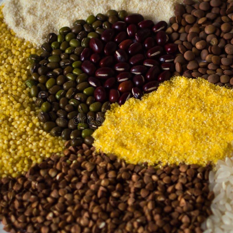Зерно, рис, горох, манная крупа, чечевица и другие гречихи хлопья стоковая фотография rf