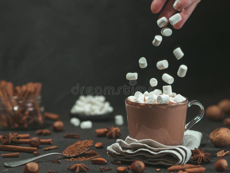 Зефиры падают в чашку какао горячего шоколада стоковые изображения