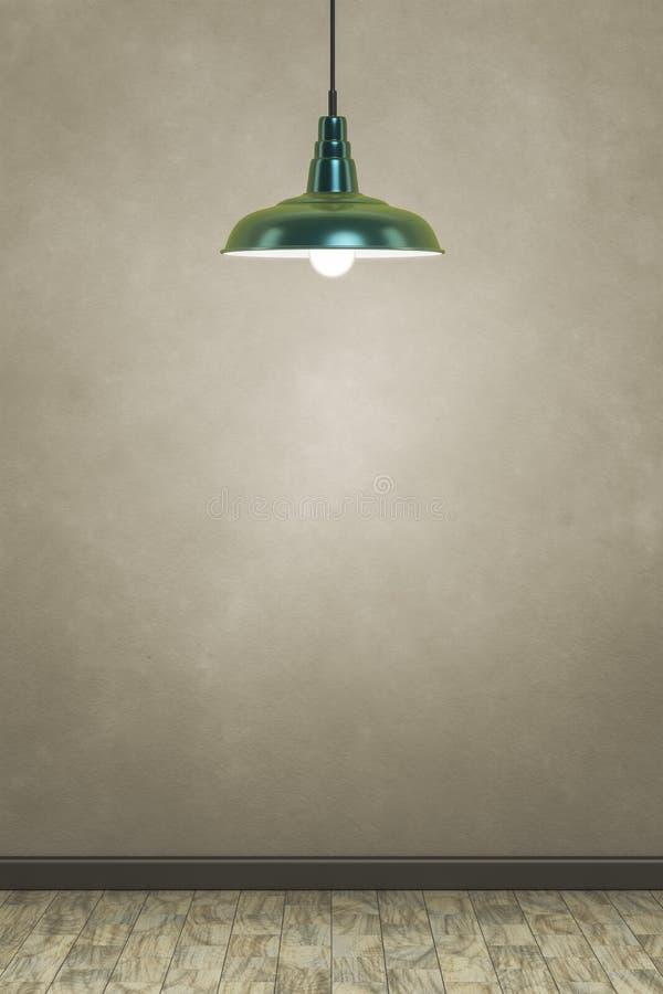 Зеленая лампа перед коричневой стеной иллюстрация штока